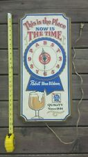Vintage Pabst Blue Ribbon Beer Clock - Plastic Pbr Sign 1979 - This Is The Place