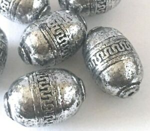 6 Large Barrel Acrylic Antique Silver Metal Plated Craft Beads 28x18mm