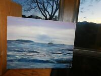 Small Boat on Ocean Original Oil Painting Signed