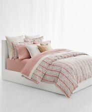 Ralph Lauren 3 Piece KING Comforter Set Yasmine Floral Stripe CORAL A9Z481