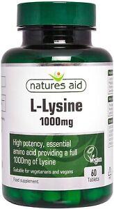 Natures Aid L-Lysine 1000 mg, High Potency Essential Amino Acid, Vegan, 60 UK