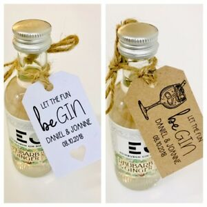 Personalised Wedding Gin Favour Tags - Drink me / Let the fun be Gin - Party Hen