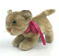Steiff Tapsy Tabby Cat Mohair Plush 8cm 3in 1959 -66 no ID age darkened Vtg