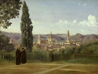 View of Florence from the Boboli Gardens Camille Corot Painting Print on Canvas