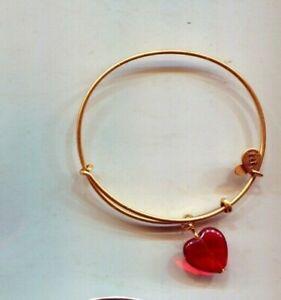 ALEX & ANI VALENTINES RARE RED HEART gold charm bracelet