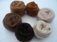 Heidifeathers Merino Wool Tops / Roving 6 Brown Shades - Felting Wool