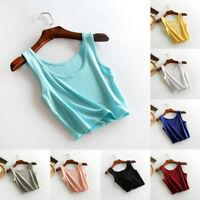 Women Sleeveless T-Shirt Tank Cami Vest Cropped Top Blouse Beach Summer Girl Gym