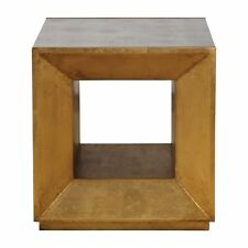 Gold Metallic Mirrored Bunching Cube Table | End Accent Square Open Modern