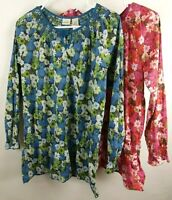 LL Bean Lot Peasant Blouse Floral Top Girls 14 16 Pink Blue Twin Large Cotton