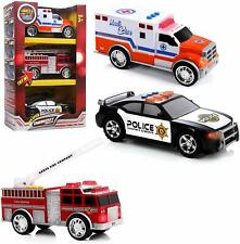 Top Right Toys 3 Emergency Vehicles Set - Ambulance, Fire Truck and Police car