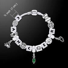 Cancer Astrology Bead .925 Sterling Silver Bracelet Emerald Glass Gem