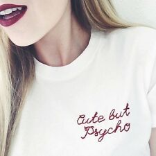 """Brandy Melville White """"Cute But Psycho"""" Embroidered Fitted Margie Shirt Top"""
