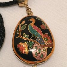 VINTAGE/RETRO CLOISONNE' PEACOCK & BLACK TASSEL PENDANT NECKLACE!