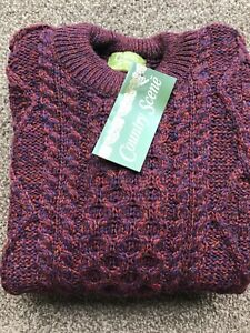 Traditional 100% British Wool Aran Crew Neck Jumper Cable Knit Berry Burgundy