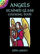 ANGELS STAINED GLASS COLORING BOOK, Dover, 8 designs, translucent paper, fun!