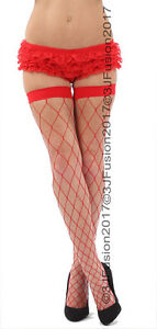 Diamond Fence Net Whale Net Stockings Bright Pink & Green Red White  (EV)