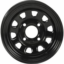 Black 14x7, 4/156, 4+3 (12mm) ITP Delta Steel Wheel With 12mm Bolt Holes -