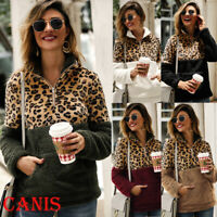 US Leopard Jacket Women Sweater Top Warm Casual Winter Cardigan Long Sleeve Coat