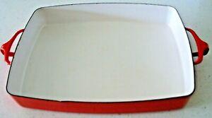 """Dansk Large Red Kobenstyle Lasagna Baking Pan Casserole Dish 13"""" x 10""""  France"""