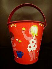Vintage genuine old seaside tinplate printed Red enamel bucket 1950s 1960s