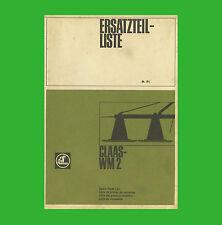 CLAAS Wirbelmäher WM 2  Ersatzteilliste 1971
