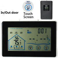 Touch Screen Wireless Weather Station In/Out Door Temperarure Clock w/ Humidity