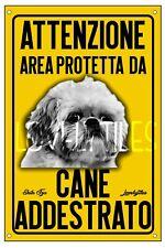 SHIH TZU AREA PROTETTA TARGA ATTENTI AL CANE CARTELLO PVC GIALLO