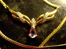 Genuine Diamond & Amethyst Necklace Pendant 9kt solid yellow 9ct gold 6.3 grams