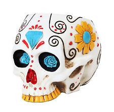 White Day of The Dead Skull Office Utility Holder Figurine Dia De Los Muertos