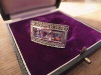 Bombastischer 925 Silber Ring Designer Modern Lila Stein Zirkonia Wie Diamant