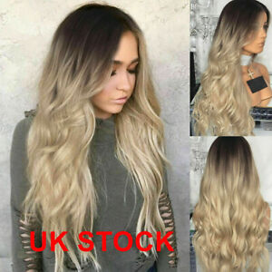 """28"""" Women Ladies Long Blonde Ombre Curly Wigs Natural Full Wavy Hair Wig UK"""