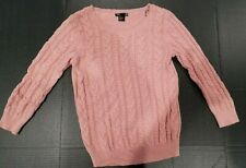 WOMENS PINK CABLE SWEATER SIZE S BY H&M