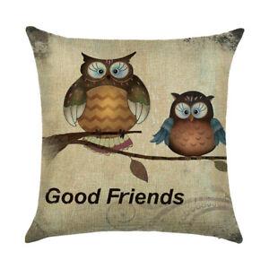 """18"""" Owl Print Cotton Linen Pillow Case Cushion Cover Sofa Home Decor"""