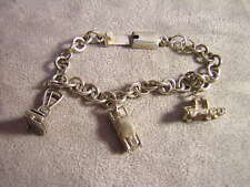Mexico Sterling Silver Charm Bracelet ~ Chim Scales - Opens ~ Semi Truck ~ Car