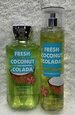 2pc Bath & Body Works FRESH COCONUT COLADA Shower Gel & Fragrance Mist FREE SHIP