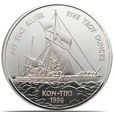 1986 Kon-Tiki Samoa 5 Troy Ounces .999 Proof Silver Coin Singapore Mint (0219)