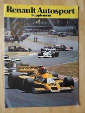 RENAULT AUTOSPORT 1978 UK Mkt Supplement Publicity Brochure - Motor Sport Alpine