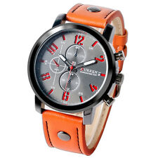 CURREN Deco Small Dial Leather Band Strap Quartz Men Dress Business Wrist Watch