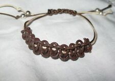 BROWN & CREAM WOVEN waxed cord adjustable shamballa style bracelet