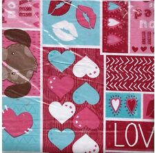 Valentine's Day Love and A Dog Vinyl Flannel Back Tablecloth 60 Round