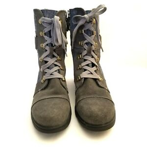 SOREL Major Carly NL2158-053 Grey Suede Blue Denim Lace Up Ankle Boots Womens 10