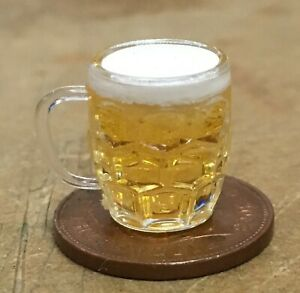 1:12 Scale Plastic Dimpled Stein Mug Full With Beer Tumdee Dolls House Tankard
