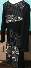 LOVE THE QUEEN Black & White Patchwork 2-Pc Tunic/Skirt Set Size M - NWT SHARP!
