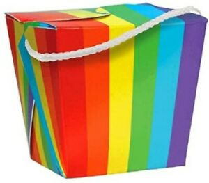 BOX NHS RAINBOW PARTY LOOT TREAT GIFT GOODY POPCORN SNACK BOXES UNICORN FAVOUR