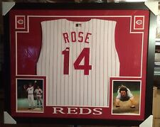 "Pete Rose ""Hit King"" Cincinnati Reds Custom Framed Autographed Jersey w/ JSA COA"