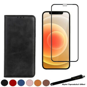 Etui portefeuille pour iPhone 12 Mini Housse + Verre trempé bords noirs