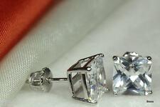 Basket ScrewBack Cz Stud Earrings 8Mm Sterling Silver Clear Princess Square Cz