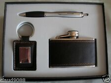 """MEN'S KEYRING, HIP FLASK & PEN GIFT SET"" 76214A GIFT BOXED"