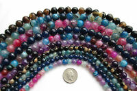 "15"" Strand Fire Agate Faceted Round Beads Gemstone Semi Precious Stone 6 8 10mm"