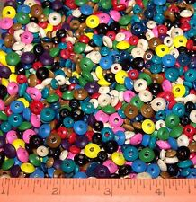 Lot Of 55 Rondelle WOOD Beads Multi-Color